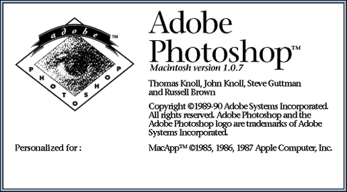 Photoshop 1.0 splash