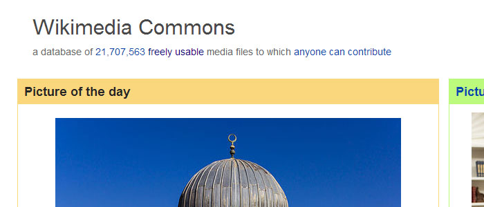 Wikimedia Commons homepage