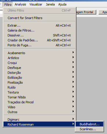 lista de filtros do Photoshop
