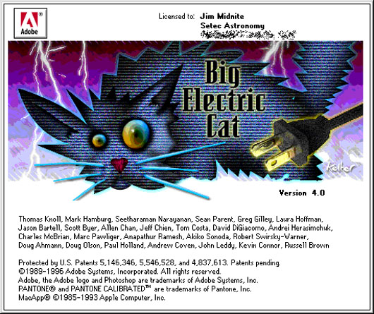 Photoshop 4 easter egg Big Electric Cat