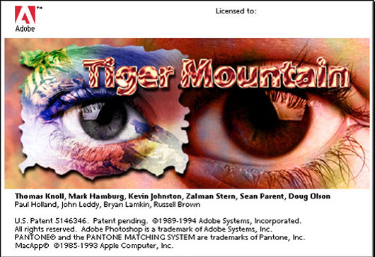 Photoshop 3 easter egg Tiger Mountain