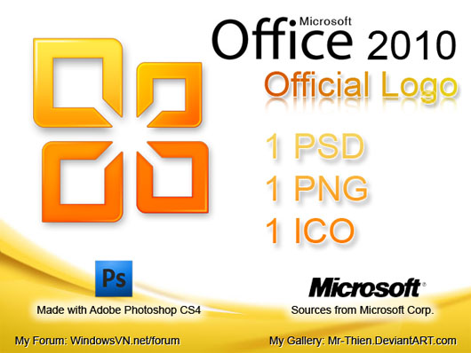 Office 2010 logo download psd