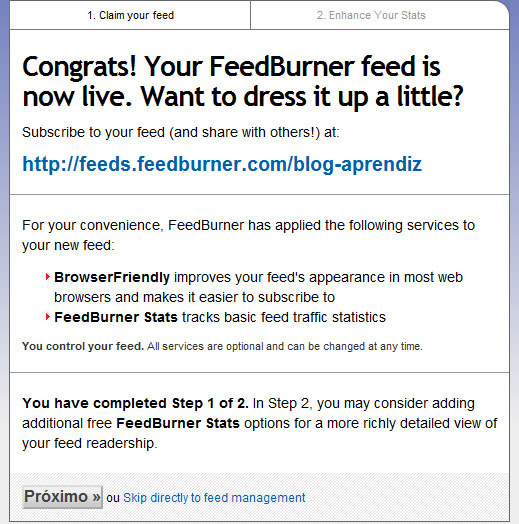FeedBurner pronto, restam as configurações