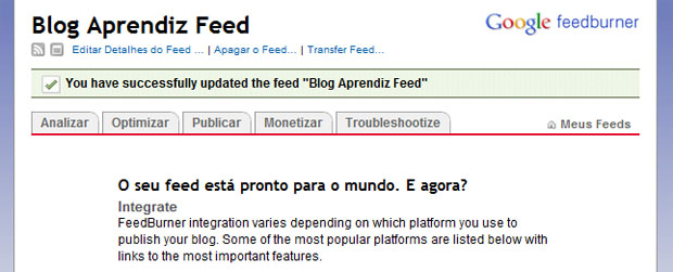 Feed pronto, use as guias para navegar entre as páginas de ajustes e personalização