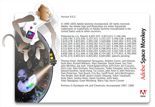 Photoshop CS2 Space Monkey easter egg