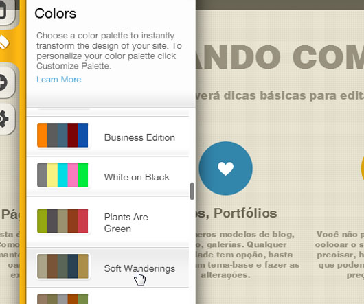 Paleta Soft Wanderings no design de sites do Wix