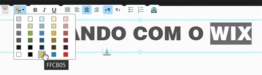 Editando a cor do texto no Wix