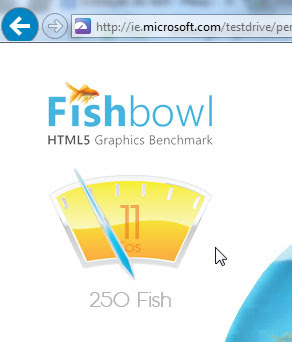 Resultado do Internet Explorer 10 no Fishbowl