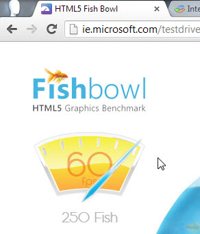 Resultado do Chrome 24 no teste do Fishbowl