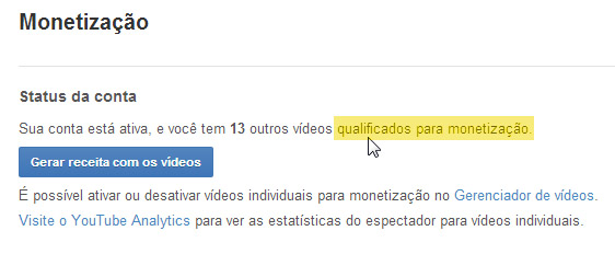 videos ativos para monetizar