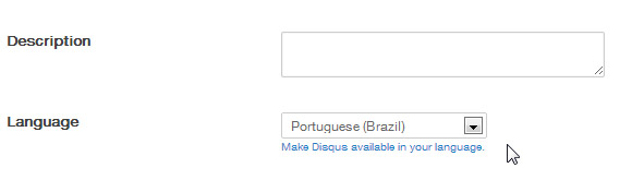idiomas do disqus
