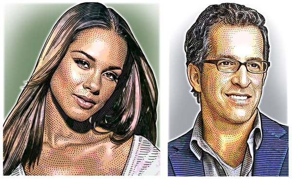 Hedcuts coloridos Alicia Keys e Kenneth Cole