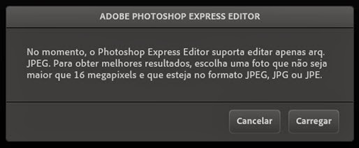 Photoshop Express Editor - aviso de formatos