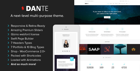 Dante - Tema WordPress Responsivo Retina Multiuso - Tutoriart