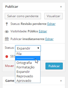 status de post WordPress lista