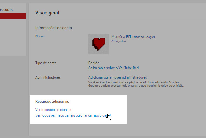 atalho nova conta youtube