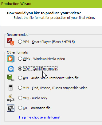 camtasia quick time mov