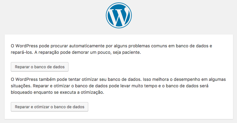 reparar banco dados wordpress